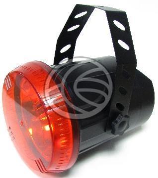 Foco de luz estroboscópica de luz blanca. Se trata de un foco con lámpara halógena de 75W y con filtro de luz de color rojo. Modelo para ser colgado al techo o estructura tubular de iluminación, pues se suministra el herraje necesario para su fijación.