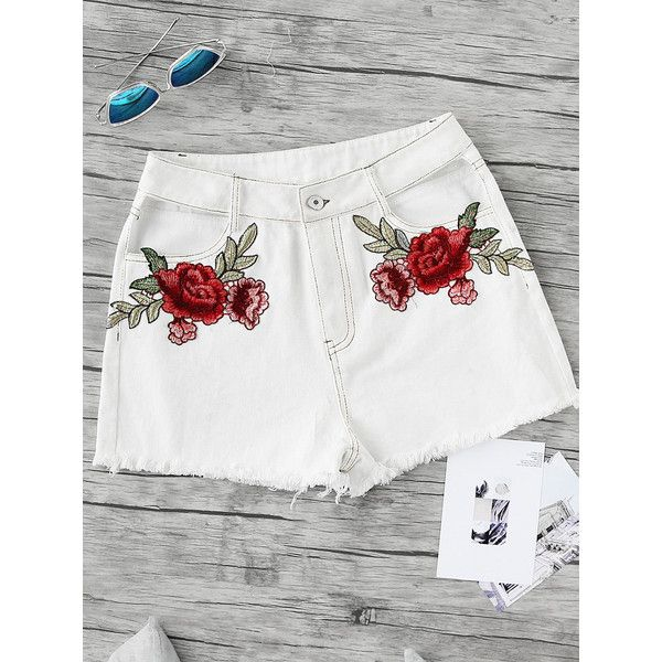 SheIn(sheinside) Embroidered Rose Applique Cutout Frayed Topstitch... ($12) ❤ liked on Polyvore featuring shorts, white, denim shorts, sexy white shorts, high-waisted shorts, sexy shorts and white denim shorts