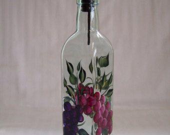 Aceite de la jarra, botella de aceite, dispensador de aceite con uvas, botella de aceite de cristal, dispensador de aceite y vinagre, decoración cocina, dispensador de jabón