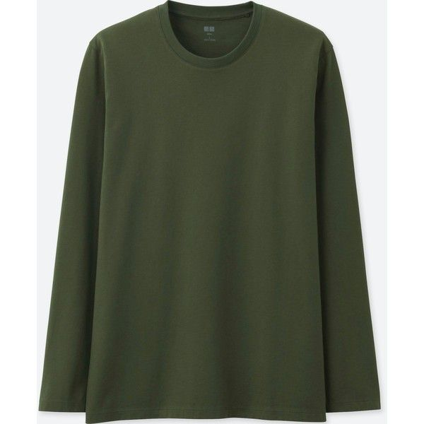 UNIQLO Men's Supima Cotton Crewneck Long-sleeve T-Shirt ($15) ❤ liked on Polyvore featuring men's fashion, men's clothing, men's shirts, men's t-shirts, olive, mens crew neck shirts, uniqlo men's t shirts, mens t shirts, mens cotton t shirts and mens stitch t shirt