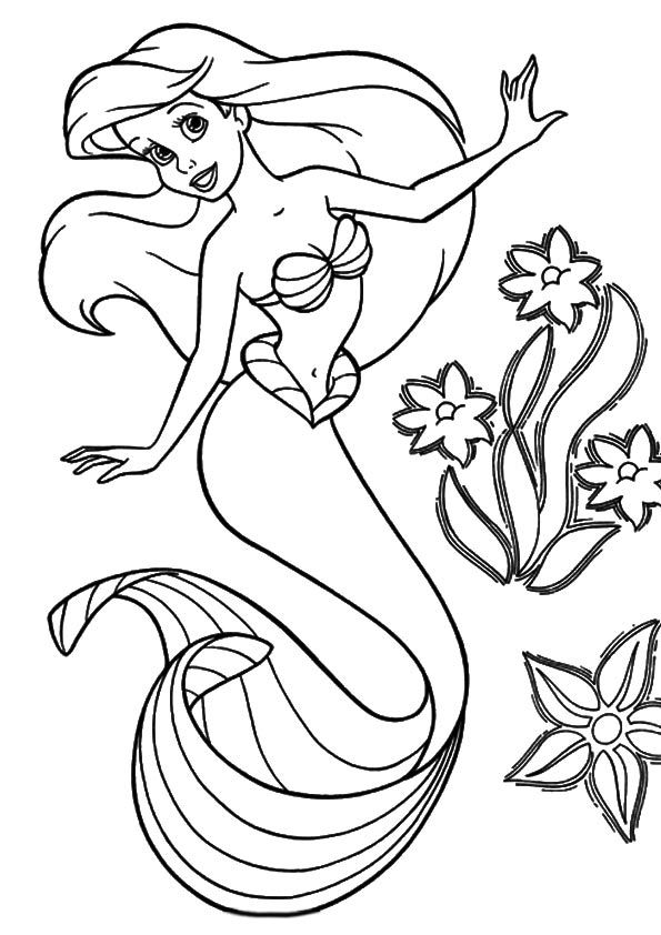 Ariel Coloring Pages For Kids PrintableKidsfreecoloring.Net | Free ...