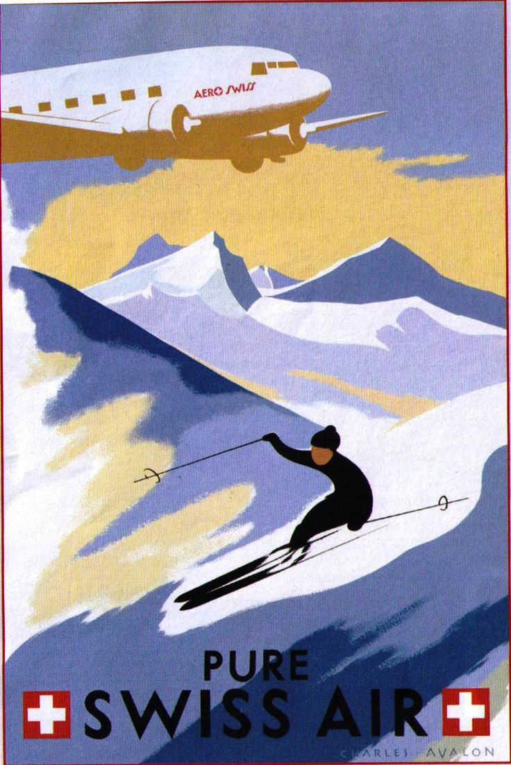 Swiss Air vintage ski poster