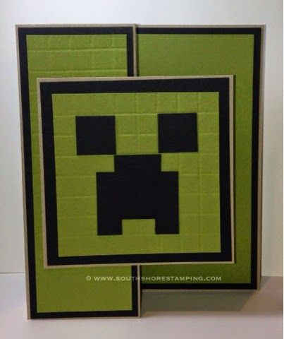 Minecraft Creeper Punch Art Birthday card using Stampin' Up! products by Emily Mark SU demo Montreal. www.southshorestamping.com