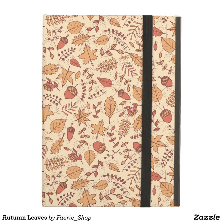 Autumn Leaves Cover For iPad Air #faerieshop #drawing #fall #autumn #berry #rowan #leaves #pattern #bright #red #branch #seamless #foliage #acorns #maple #sycamore #birch #beech #oak #sketch #line #nature #art #sale #zazzle #shopping