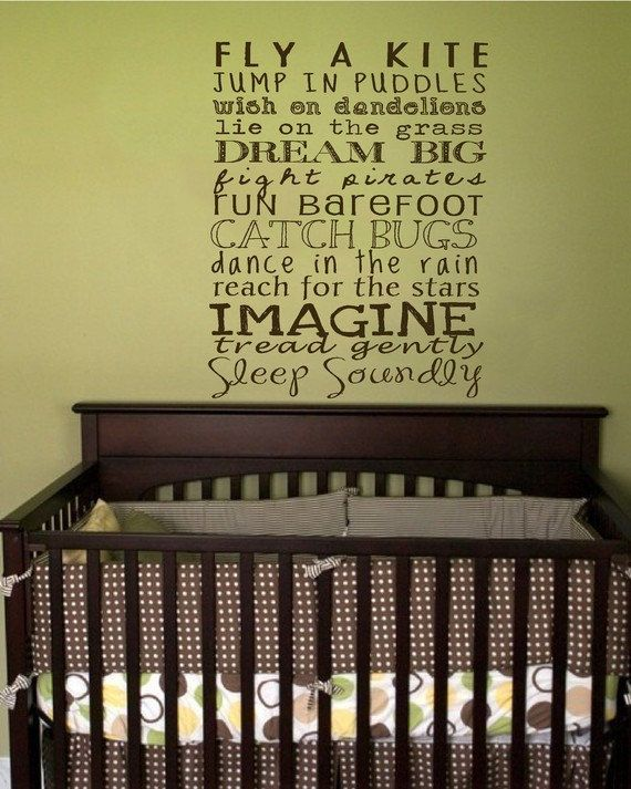 Great site (Say It with Style) that sells custom wall decals.  Great idea for kid's room.