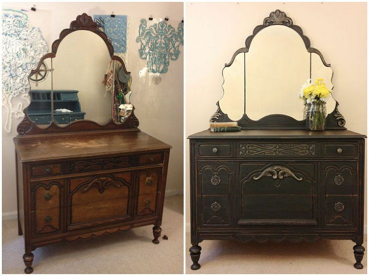 Here's  an heirloom dresser, restored with a little paint & a lot of repairs.