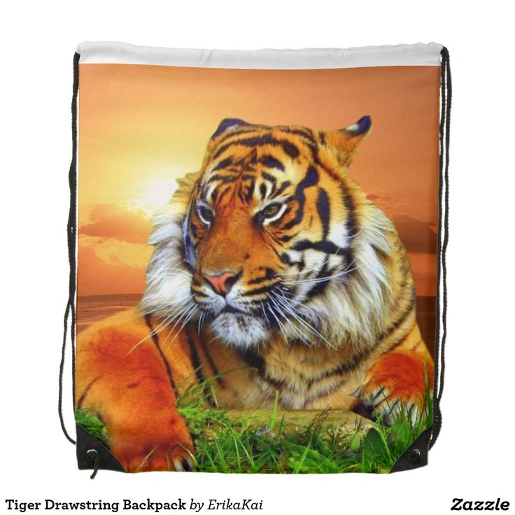 """Tiger Drawstring Backpack. 100% polyester. Dimensions: 14.75"""" x 17.3""""."""
