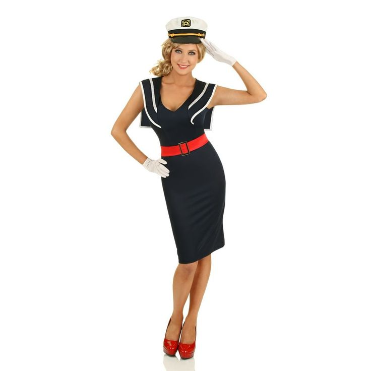 Womens 1950s Pin Up Girl Cadet Sailor Costume Rockabilly Fancy Dress 50s Outfit