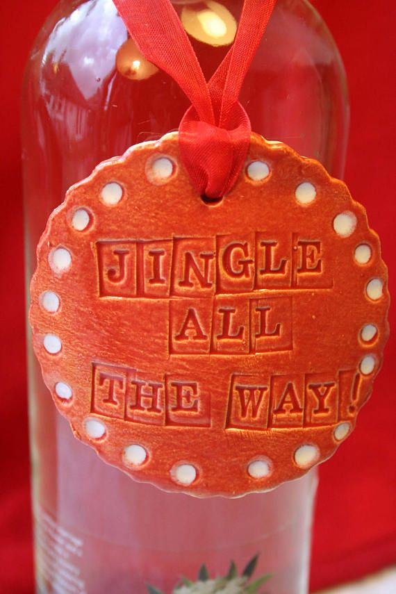Jingle All the Way Wine Charm Label & Christmas Hat Mini