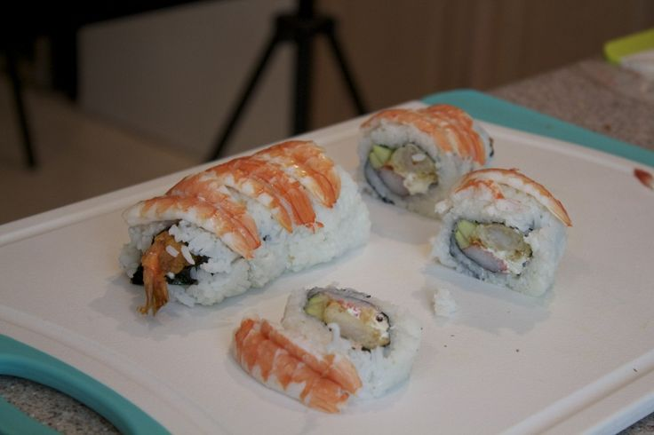 Shrimp Tempura Sushi Roll with Shrimp on Top