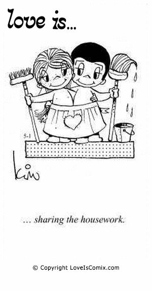 Love Is... sharing the housework.