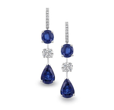 Suna Bros. platinum drop earrings featuring cushion-cut and pear-shaped sapphires and diamonds.