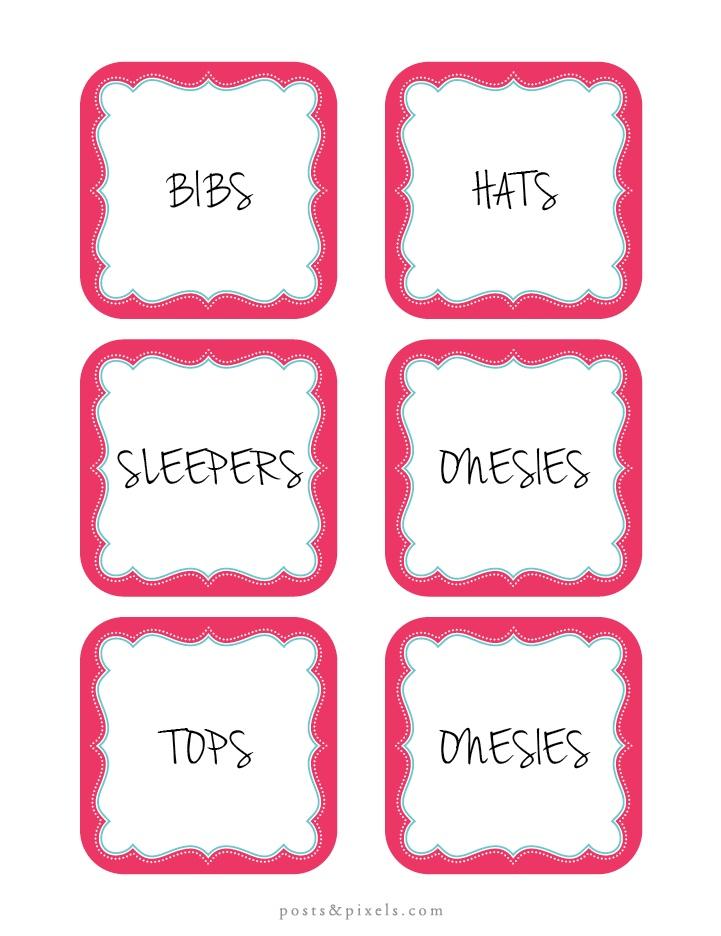 Cute Nursery Label Blank Printables (in multiple colors)