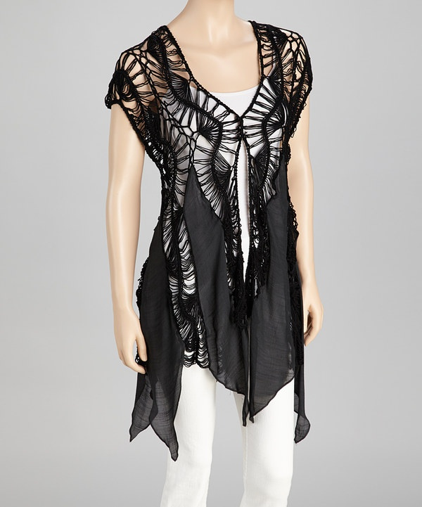 Take a look at this SR Fashions Black Crocheted Handkerchief Hem Top on zulily today!