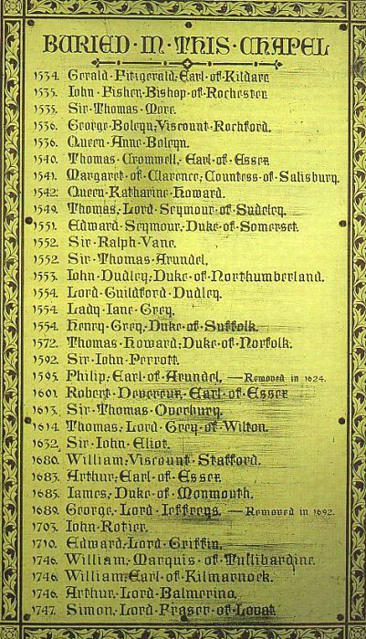 A list of people buried at the Chapel of Saint Peter-ad-Vincula inside the Tower of London.  Includes Bishop John Fisher, Sir Thomas More, George Boleyn, Queen Anne Boleyn, Thomas Cromwell, Queen Katherine Howard, and Lady Jane Gray among many others.