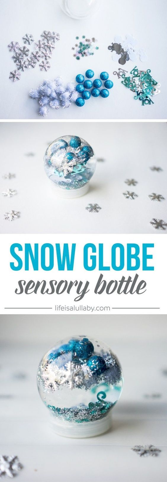 Ooh What a WONDERFUL way to use snowflakes by making a snow globe!
