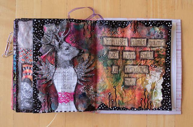"""Art Journal by *Silkku* """"happy heart"""" silkkus.blogspot.fi"""