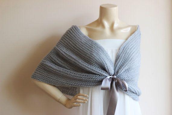 Grey  Bridal Cape / Wedding Wrap Shrug Bolero/Hand by dreamhouse1