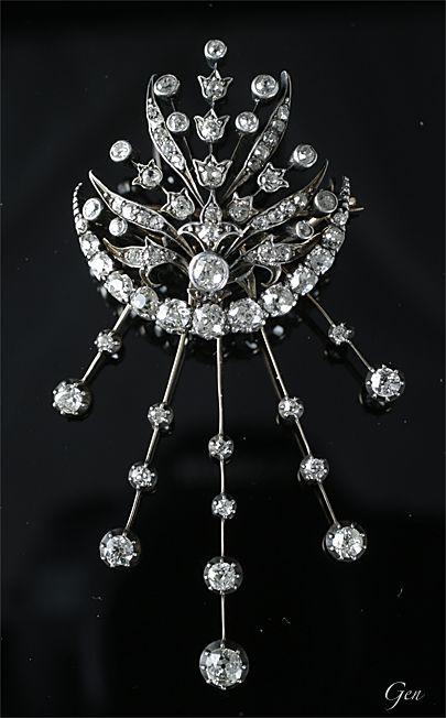 七変化のダイヤモンド ブローチ イギリス? 1880年頃 オールドヨーロピアンカット・ダイヤモンド、 シルバー&ゴールド、 ¥1,200,000-仮予約Sold