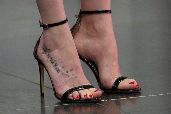 Dakota Johnson Photos Photos - Dakota Johnson, shoe and tattoo detail, attends 'El Hormiguero' Tv show at Vertice Studio on July 1, 2015 in Madrid, Spain. - Dakota Johnson Attends 'El Hormiguero' TV Show