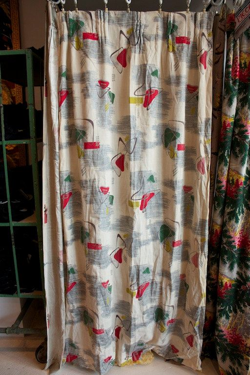 Vintage 1940s 1950s Barkcloth Curtain Panel With