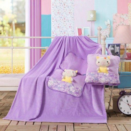 Hracia deka a vankúšik pre deti v ružovej farbe s prasiatkom