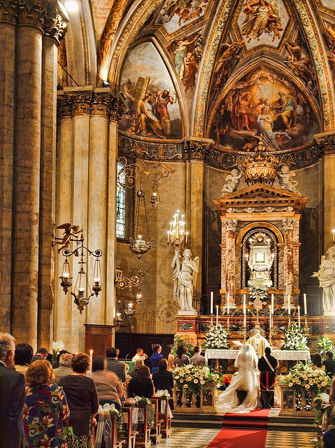 A wedding in a side chapel of Arezzo Cathedral, Italy by Anguskirk