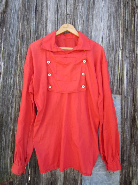 60s Handmade Rodeo Bib Western Shirt, Men's M-L // 1800s Style Vintage Red Old West Cowboy Shirt