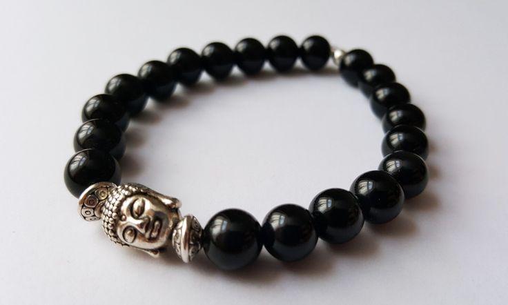Unisex Genuine Onyx Buddha Bracelet