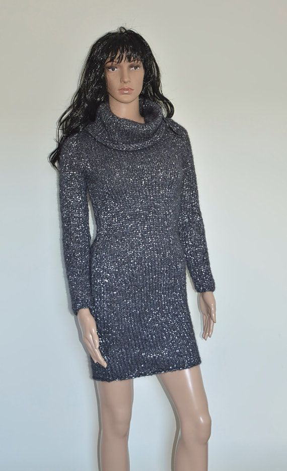 Hand knitted mini dress or long sweater from chunky mohair yarn with glitter Can be worn as a dress in the evening or tunic on day time. Dark grey color with fit other garments in your wardrobe. Hand knitted from italian mohair yarn (40% mohair wool, 50% acrylic, 10% polyester). The yarn is soft and does not itch. Size Europe 36, Italy 40, United States/Canada Small (6), United Kingdom 8, Australia 10, Japan 9. Ready to ship. If you would like to have similar sweater, but in different color…