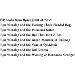 HP books from Ron's point of view. I <3 Ron :): Hp Books, Potter Books, Point Of View, Points Of View, Harrypotter, Ron Points, Harry Potter, Ron Weasley, Books Title