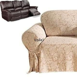 Reclining Sofa Slipcover Damask Golden Taupe Adapted For
