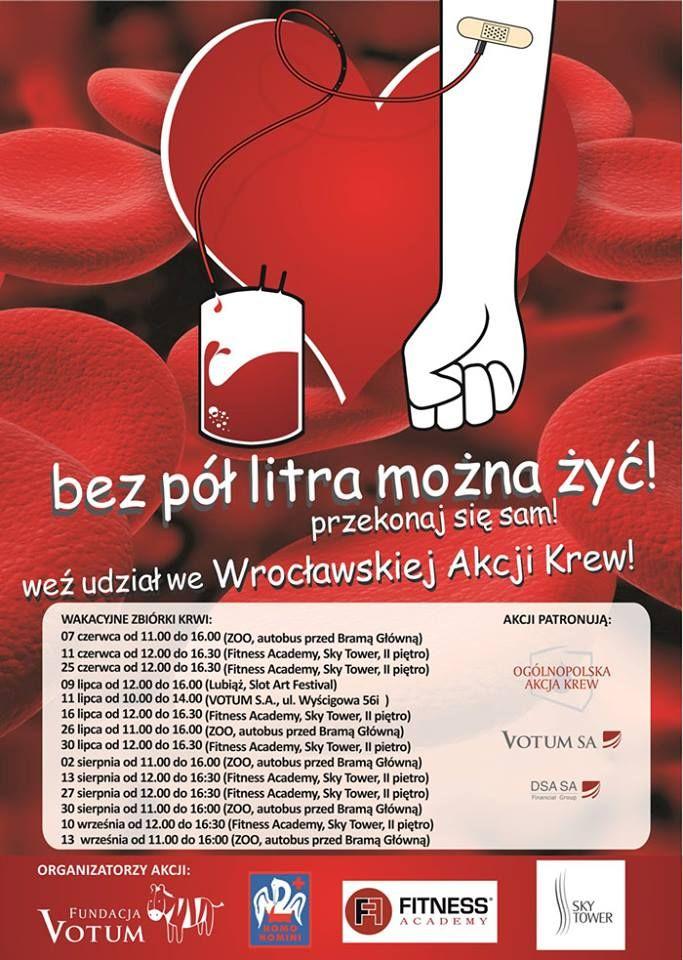 Przypominamy i zachęcamy do wzięcia udziału w OGÓLNOPOLSKIEJ AKCJI KREW dziś w Sky Tower w Fitness Academy  Przyłącz się do nas   http://fitnessacademy.pl/skytower/aktualnosci-new/2014/558-wroclawska-akcja-krew-zapraszamy-do-fa-sky-tower  https://www.facebook.com/events/1582416015318150