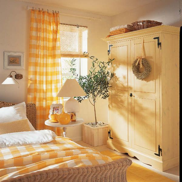 Charming gingham cottage bedroom......how much more fun with the armoire painted instead of dark wood