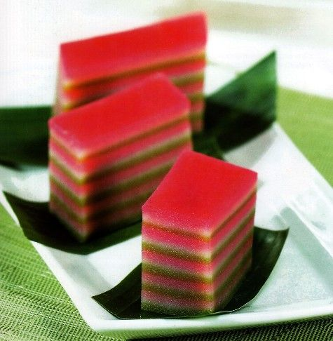 Kue Lapis, layered colorful cake made of glutinous rice flour, coconut and sugar