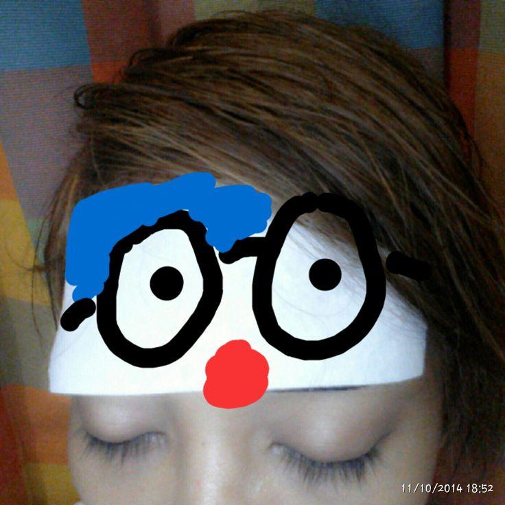 Cya got fever. I drew Doraemon on his kompresan.