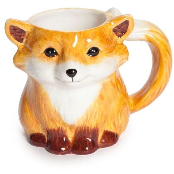 Home Accents  Set Of 2 Fox Mug ($14) ❤ liked on Polyvore featuring home, kitchen & dining, drinkware, lit orange, twin pack, couple mugs, orange mugs and fox mug