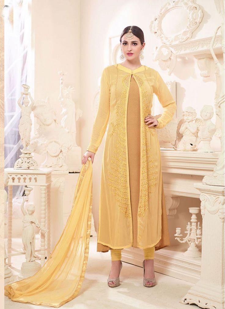 Beige and Yellow Embroidered Najneen Churidar Designer Suit
