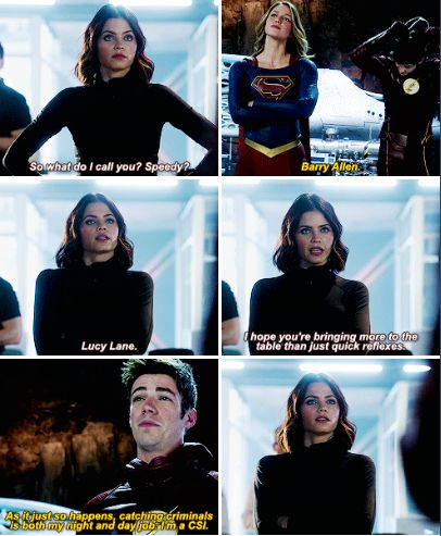 """""""What do I call you? Speedy? I hope you're bringing more to the table than just quick reflexes"""" - Lucy, Barry and Kara #Supergirl"""