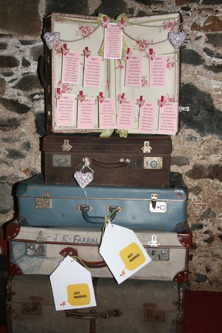 vintage suitcase table plan