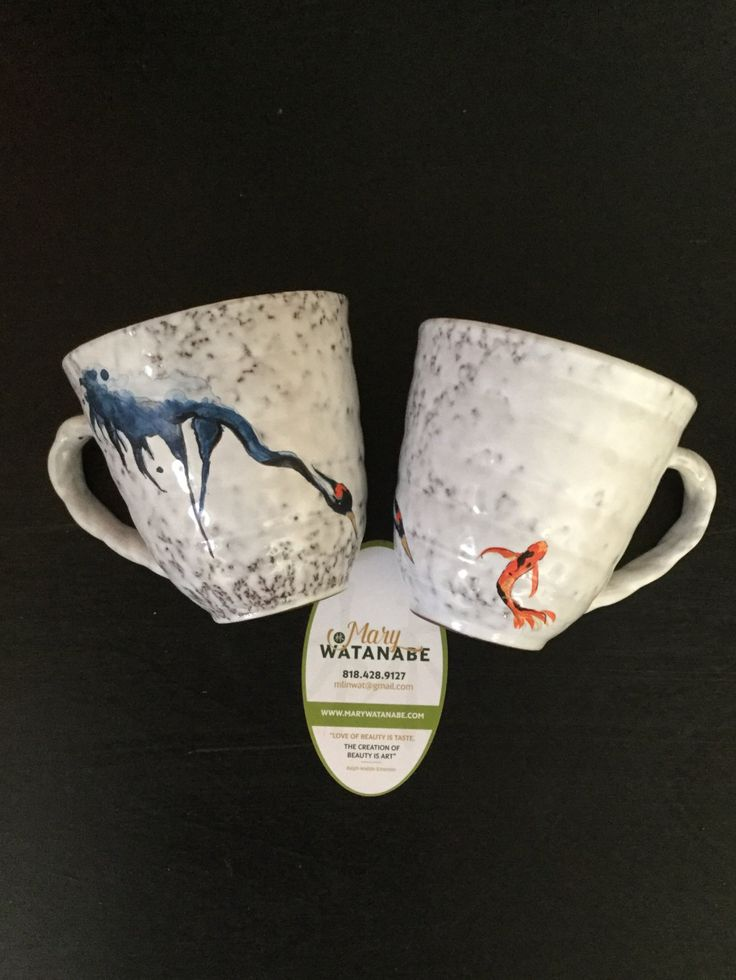 Crane and Koi Coffee/Tea Cup--Hand Painted Asian Mug (Unique Gift for Birthday/Holiday/Anniversary/Father/Mother/House Warming/Best Friend) by EatDrinkArts on Etsy