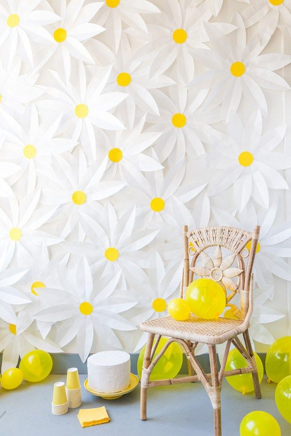 You can finish off this party backdrop for under $10, then throw in splashes of yellow party supplies and you have yourself one very pretty and dainting party. This party would be bright and cheerf…