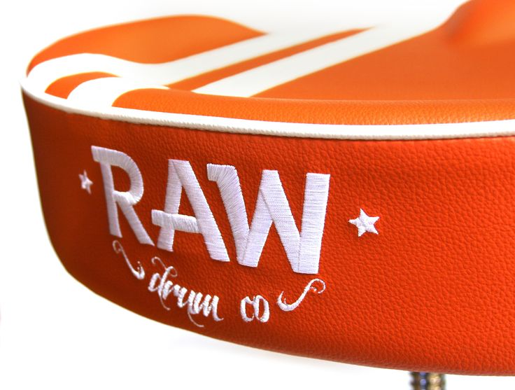 RAW embroided logo rally stripe drum throne at drum shop http://www.drumshop.co.uk/collections/drum-thrones/products/raw-steve-mcqueen-stripe-top-drum-throne-4-legs