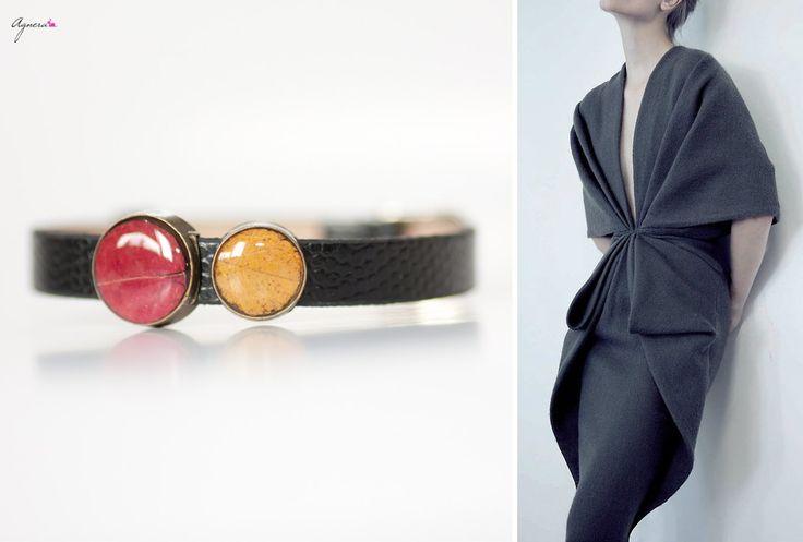 Meet Friday with fashion dress and leather bracelet with botanical beads – really fashionable set!  #friday #set #fashion #winter #dress #leather #bracelet #botanical #dark