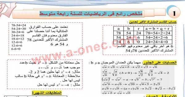 تحميل ملخص دروس مادة الرياضيات للسنة الرابعة متوسط تأليف الأستاذ ساكت شكري Blog Blog Posts Lily