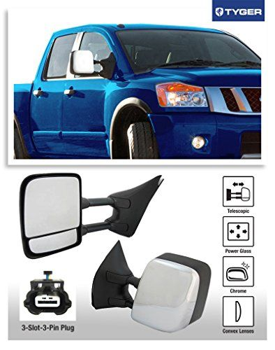 TYGER 2005-2015 Nissan Frontier 2005-2012 Pathfinder OE-Style Towing Mirrors Power Glass Convex Lens (3-Slot-3-Pin Plug) Duel-Swing Telescoping Extendable Arms Textured Black
