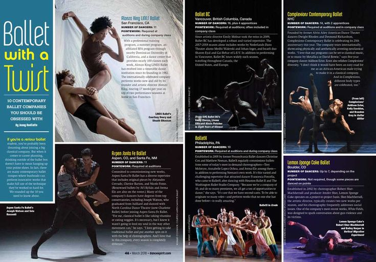 10 CONTEMPORARY BALLET COMPANIES YOU SHOULD BE OBSESSED WITH.  Dance Spirit Magazine, March 2018.