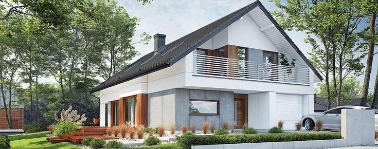 Projekt domu Nicea. Dom o powierzchni użytkowej 171,6 m2, posiadający częściowo zadaszony taras i jednostanowiskowy garaż.