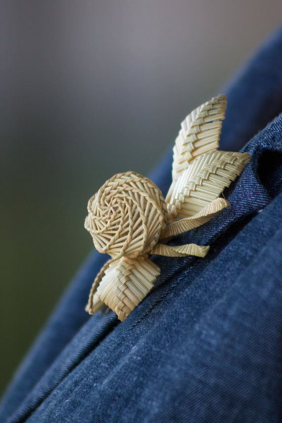 Boutonniere made out of straw. Rustic boutonniere