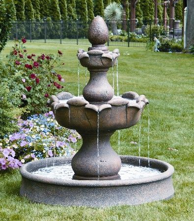 Lawn ornament fountain two tier petal leaf fountain on for Garden pool ornaments
